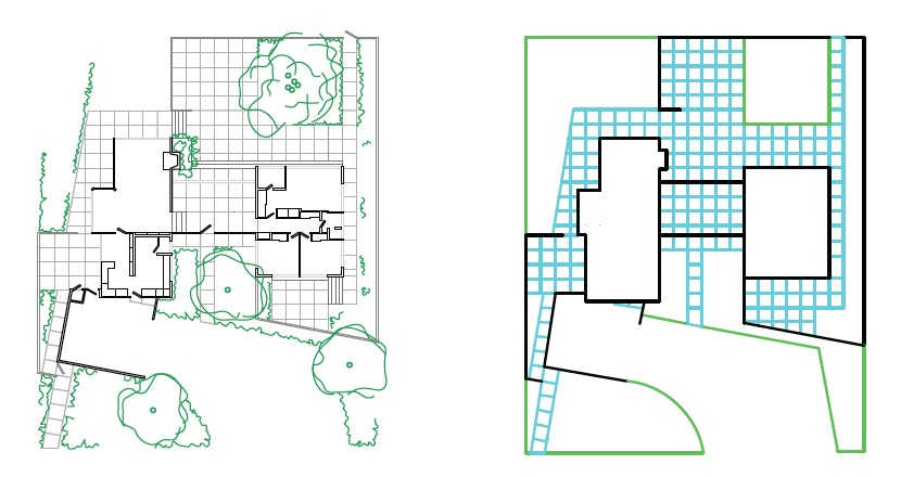 The simplifed plan displayed the H-shape of the house. Also a comparison of indoors and out was visible.