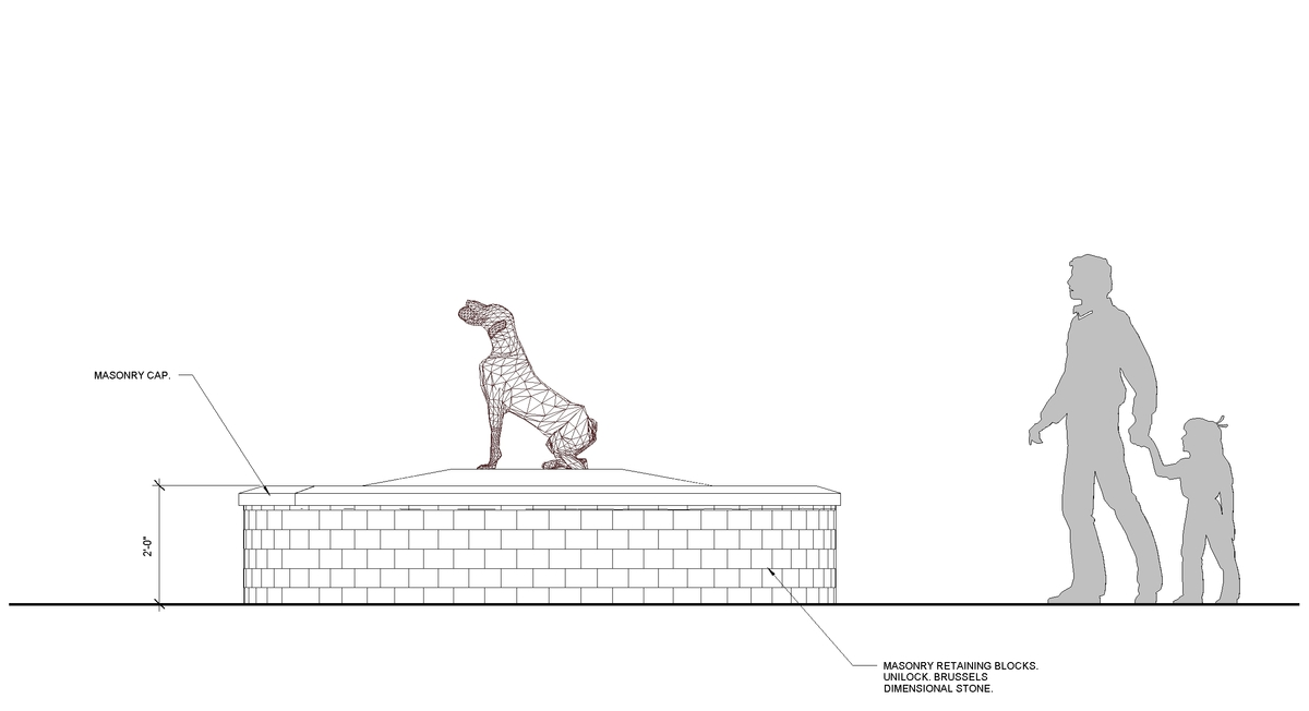 Elevation of Dog Memorial