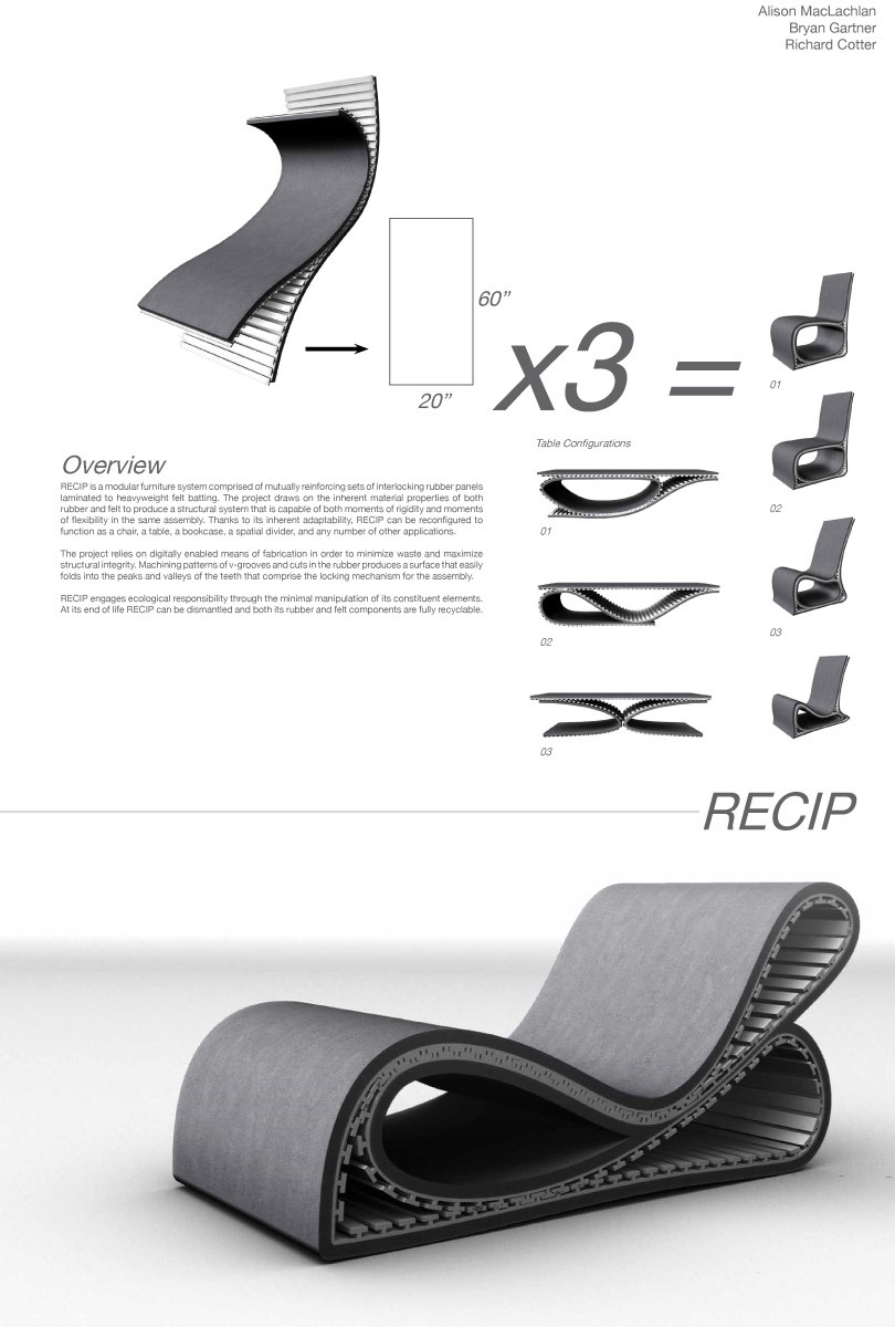 FURNITURE Winner: RECIP by Alison MacLachlan, Bryan Gartner and Richard Cotter