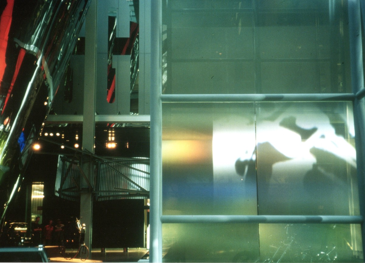 interior photograph of exhibit, video projection on polarized film