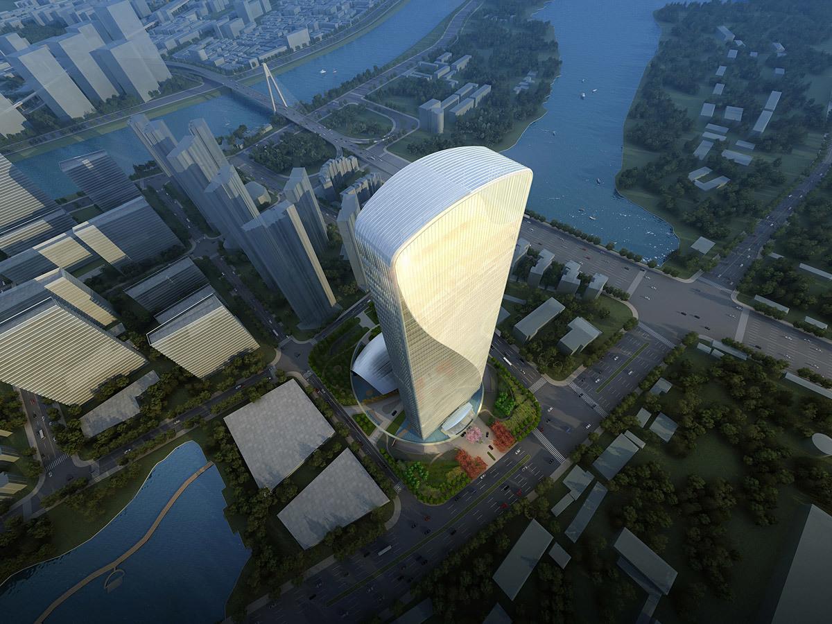 Aerial view of Qintai Center (Image: Adrian Smith + Gordon Gill Architecture)