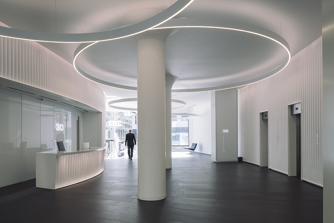 The refurbished lobby area