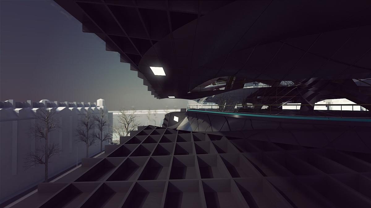 Outdoor mezzanine between Level 2 and Level 3