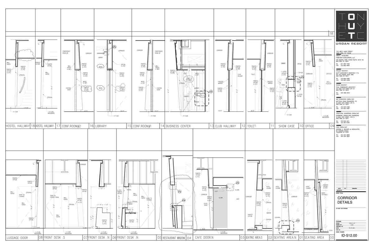 Hotel Corridor wall Sections and Details- My sample design of custom details