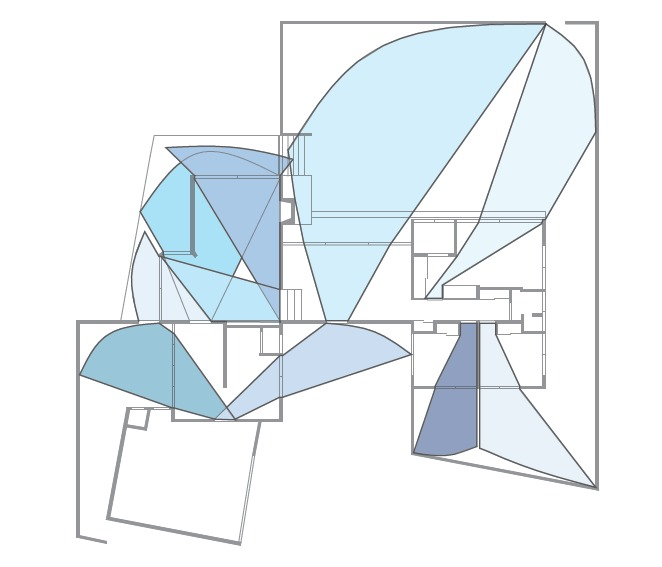 A diagram displaying the views outside when traveling through doorways. This showed the large amount of glass present in the house, and also blurred the line between indoors and out. This interaction with nature contributed to the thesis of the Case Study House.