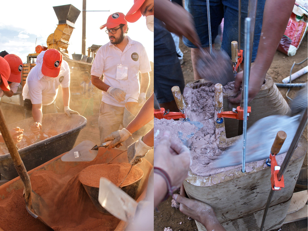 Crushing down the waste material and creating the mixture for casting