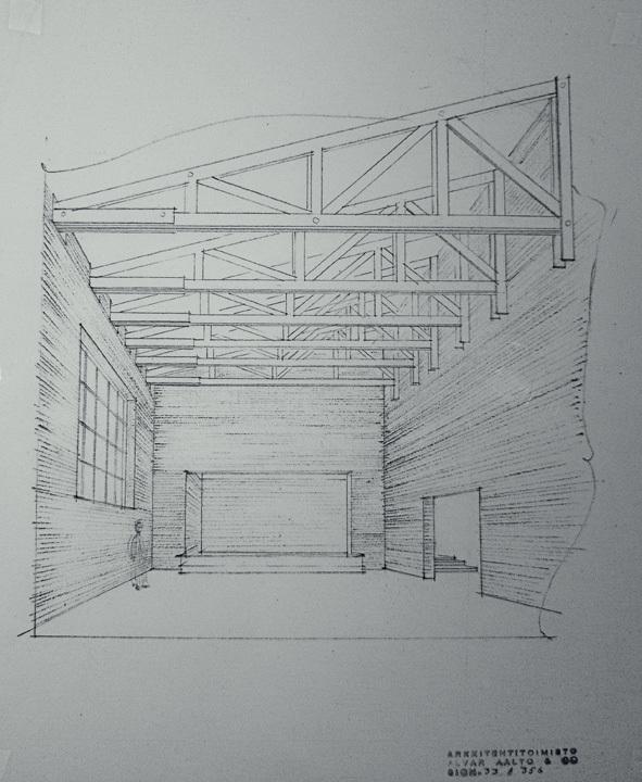 Drawing at Säynätsalo Townhall