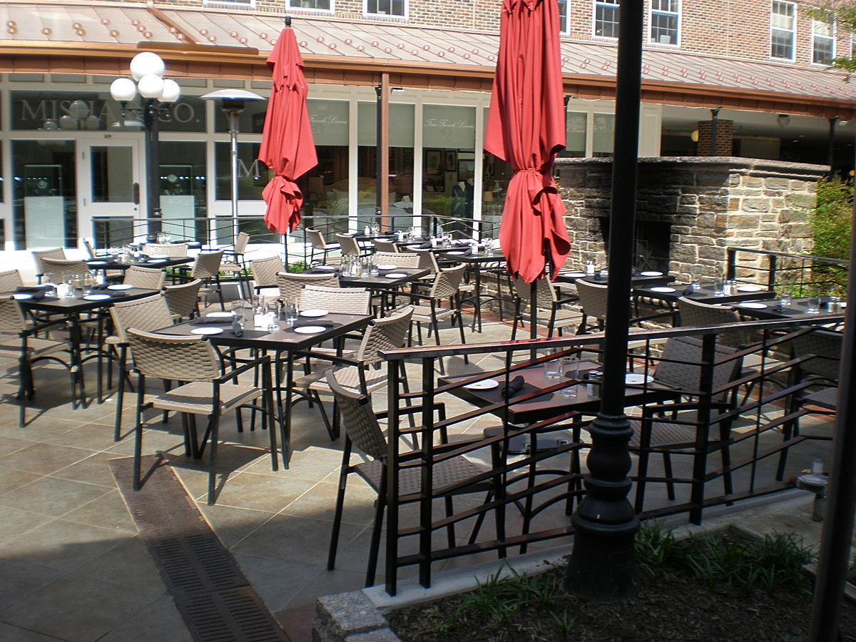 Outdoor Dining with Custom Railing and Fireplace