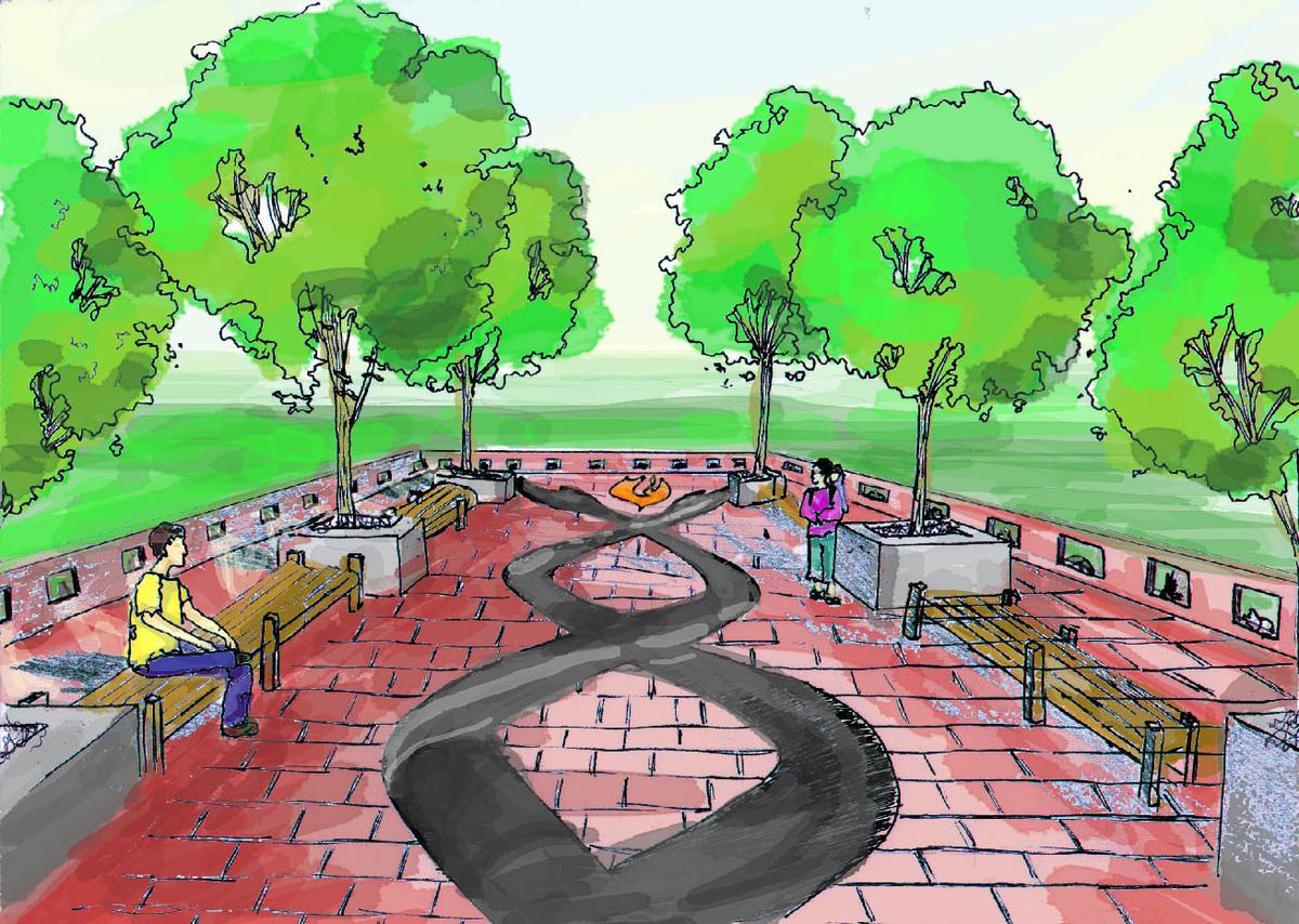Memorial plaza design (drawn by R. Ham)