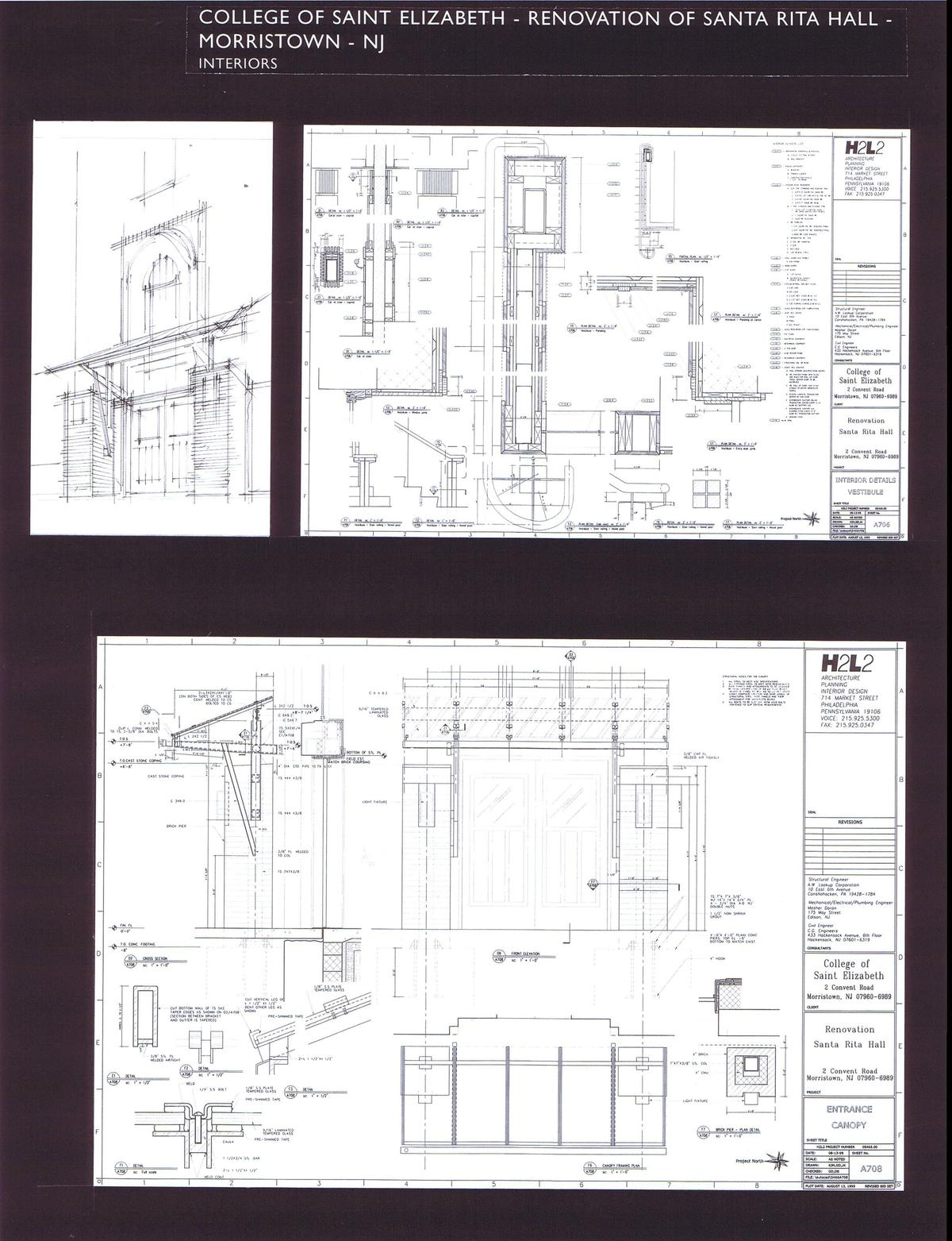 Railing Details, Entry Canopy - Plan, Elevations and Details