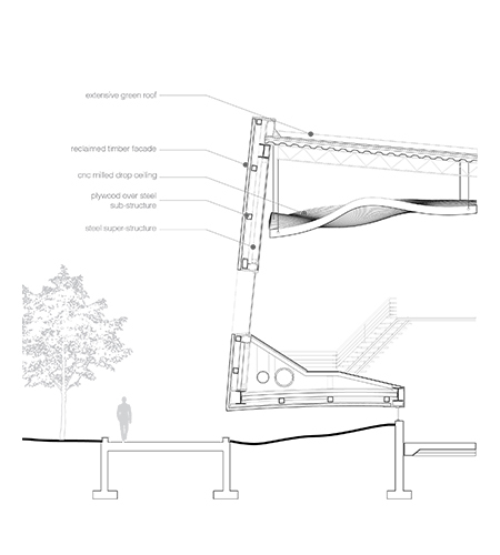 Section detail for new office and fabrication spaces