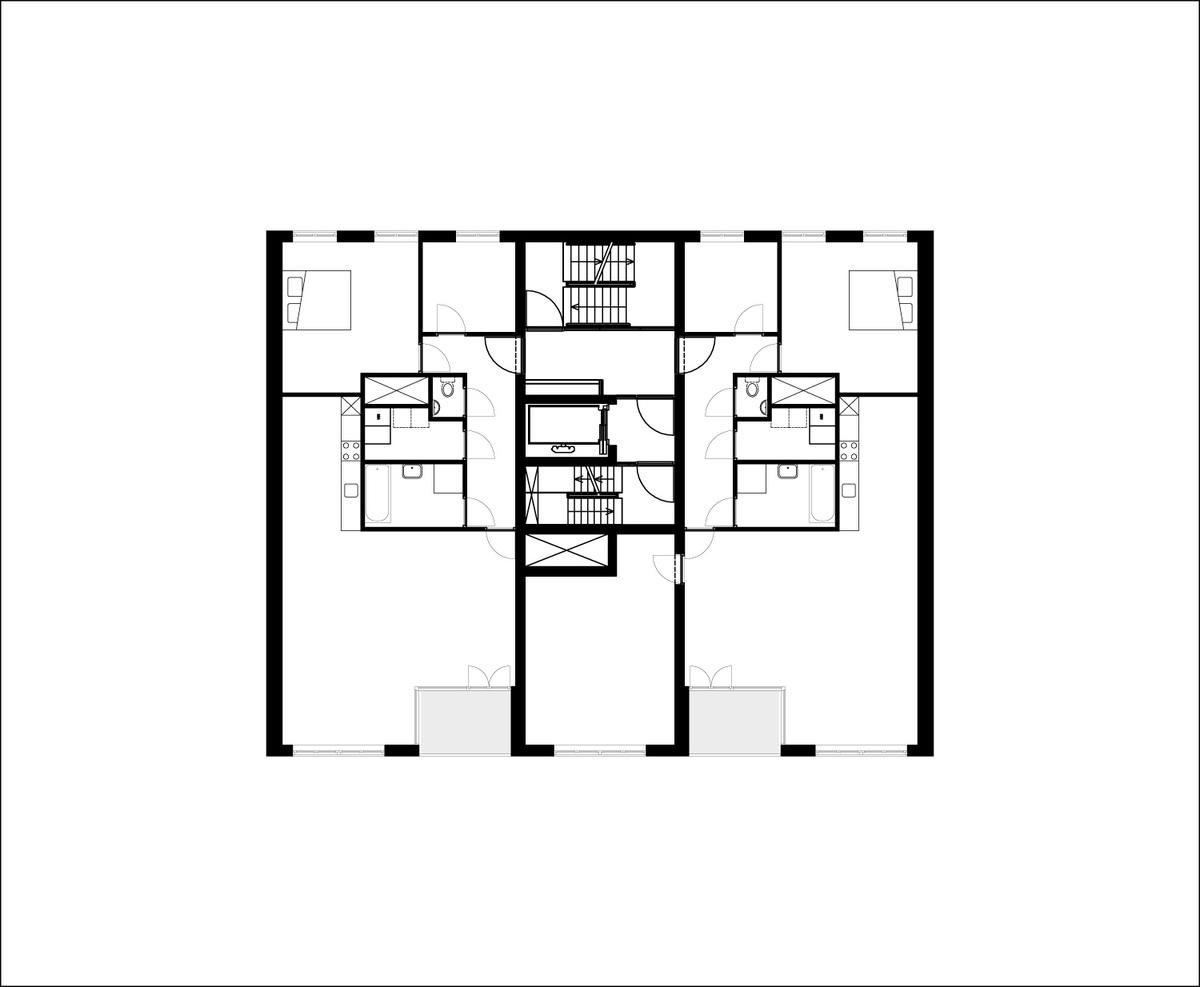 Floor plan of 2nd-7th floor of B05