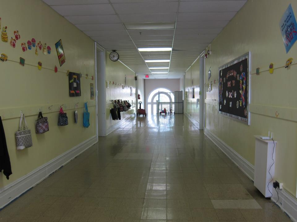 A view down the long hallway