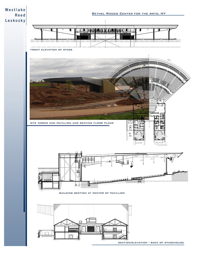 Site works, pavillion and seating plans
