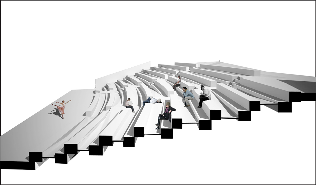 The design of the amphitheatre involved the combination of a system of ramps and the seating areas for flexibility in use.