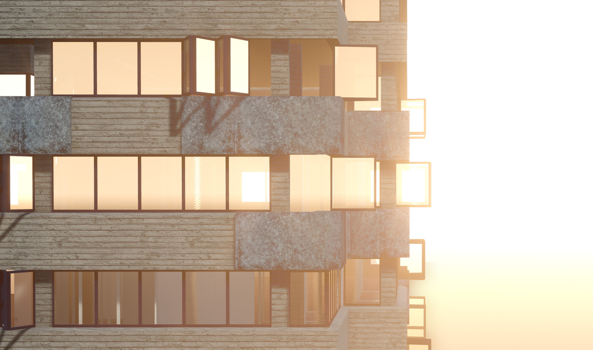 Facing Worlds Exterior View - redeveloped office building
