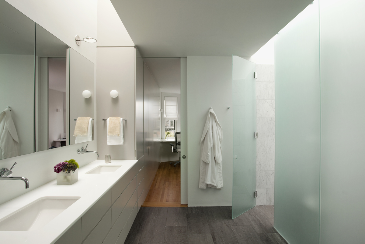 Master bathroom towards front of house