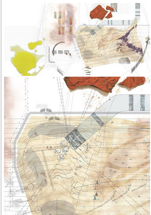 Top: Digital + analog palimpsest of events at Monte Testaccio over 2000 years Bottom: Detail of the landfill's northwest corner Images by Michael Ezban
