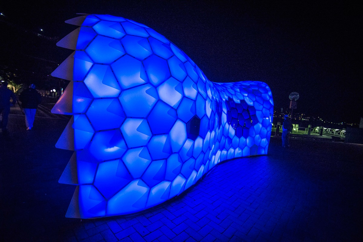 Cellular Tessellation on site at the Vivid Light festival in Sydney, Australia. Photo by Patrick Boland photography.