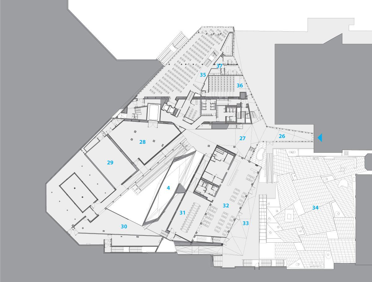 PL-4: 19 auditorium, 20 special exhibition gallery, 21 reception hall, 22 café/bar