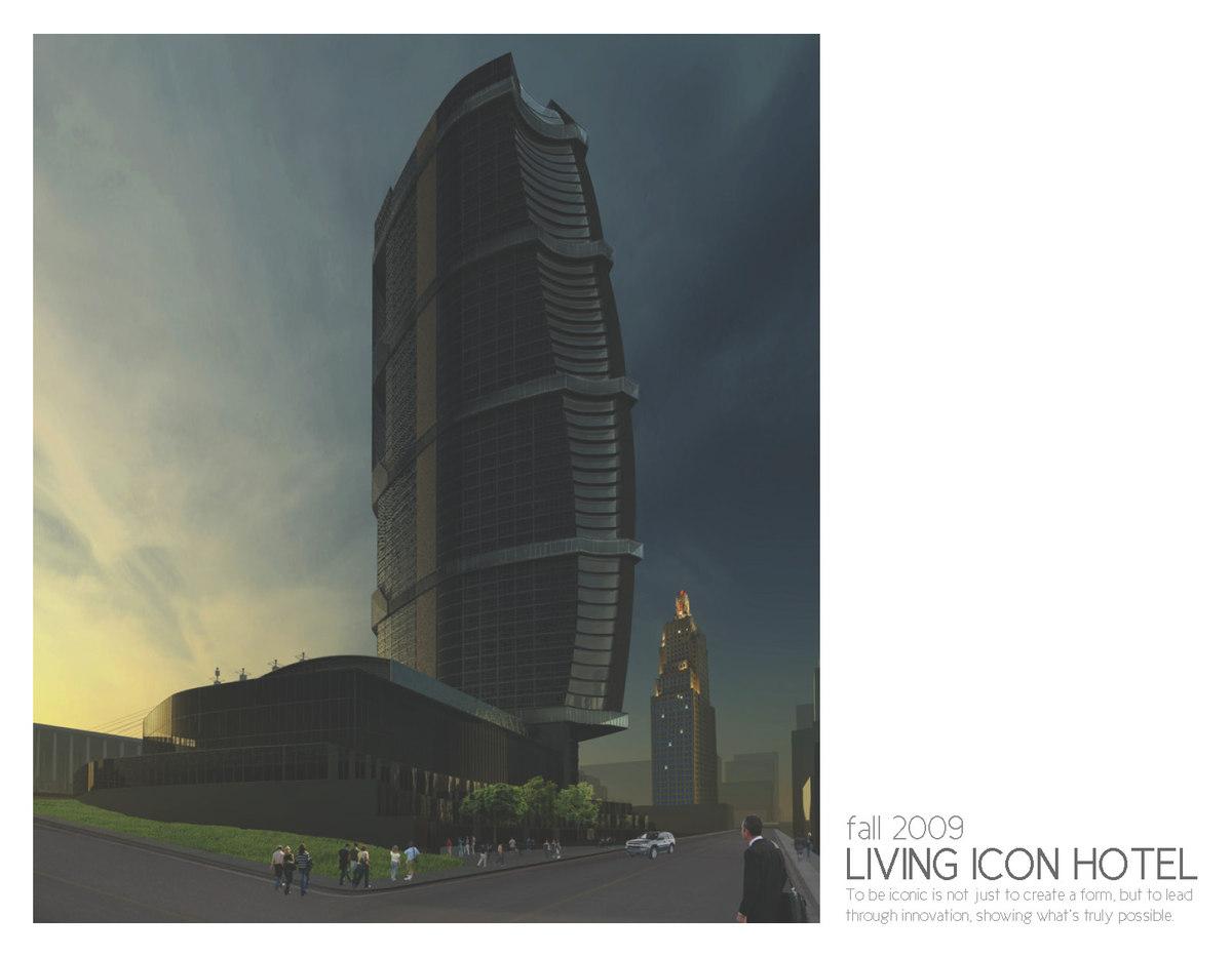 Main render showing an evening downtown.
