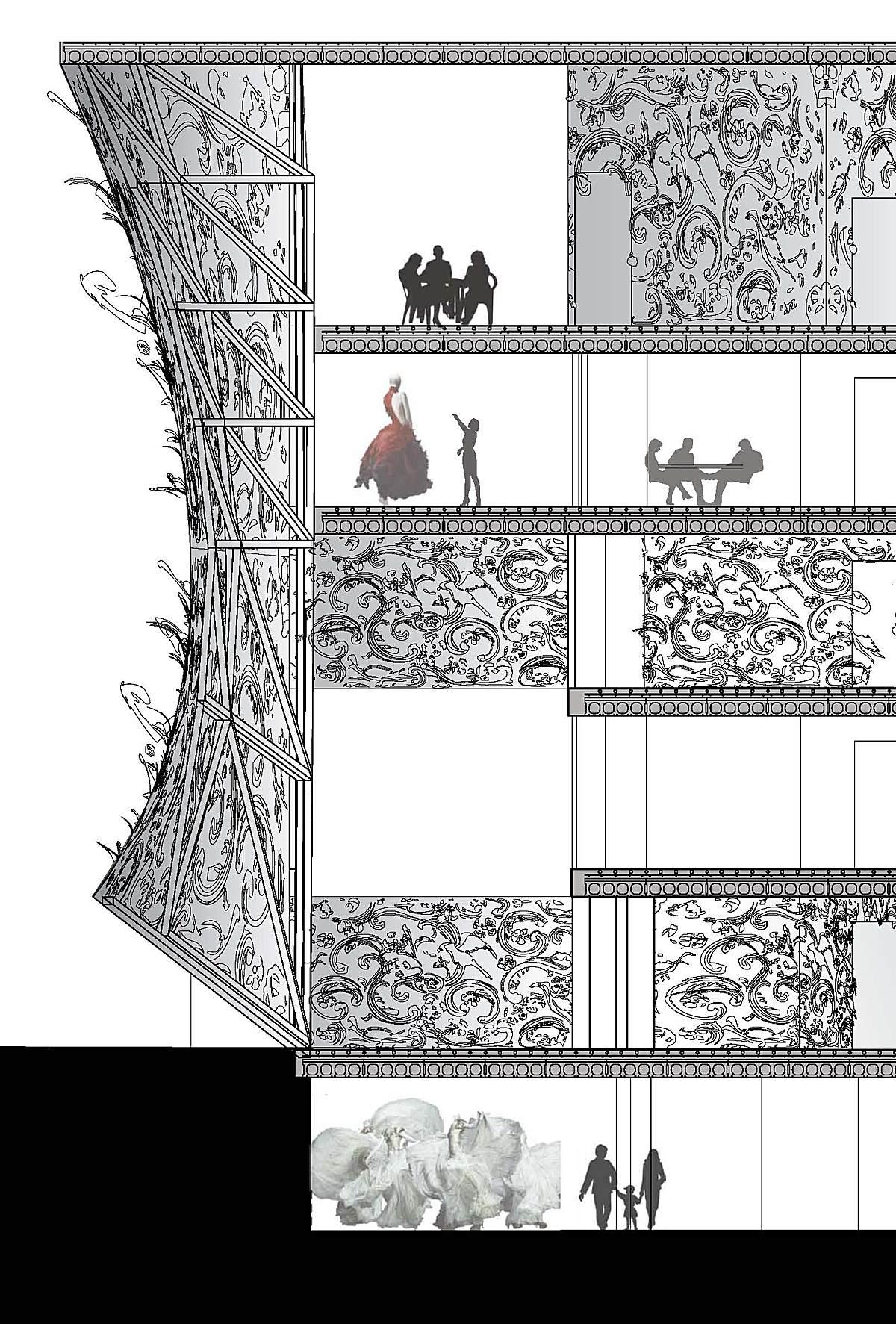 Sgambati_Alexander McQueen studio h.q._facade wall detailed section_drawing