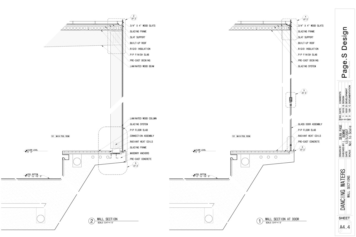 Sectional details showing materials and structure.