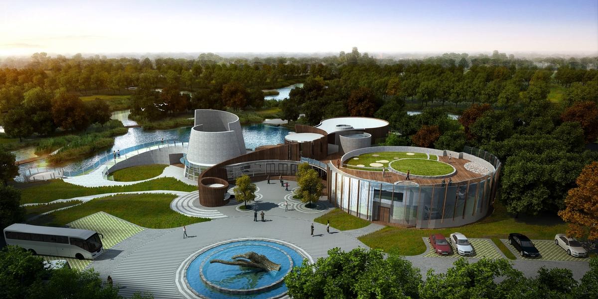 NIngbo Botanical Garden Theater Front Elevation