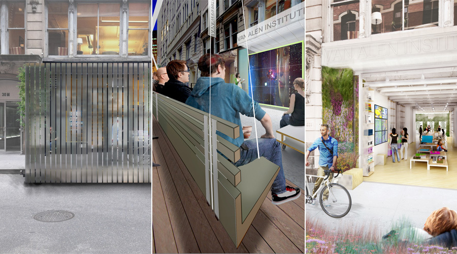 Collage of the three finalist designs by Collective-LOK, EFGH, and Of Possible Architectures (from left to right)