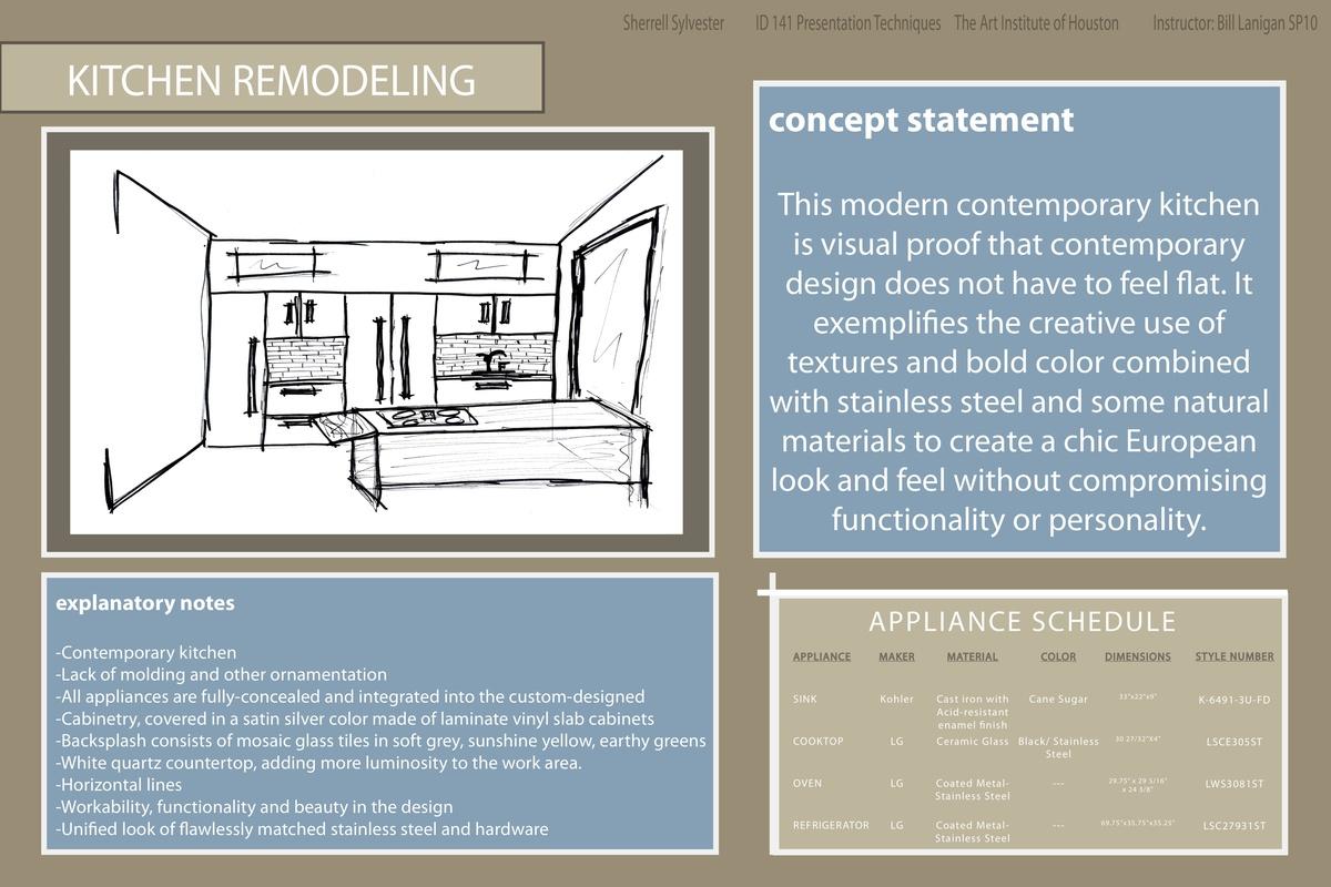 KITCHEN REMODEL - Presentation Techniques created in Adobe Illustrator