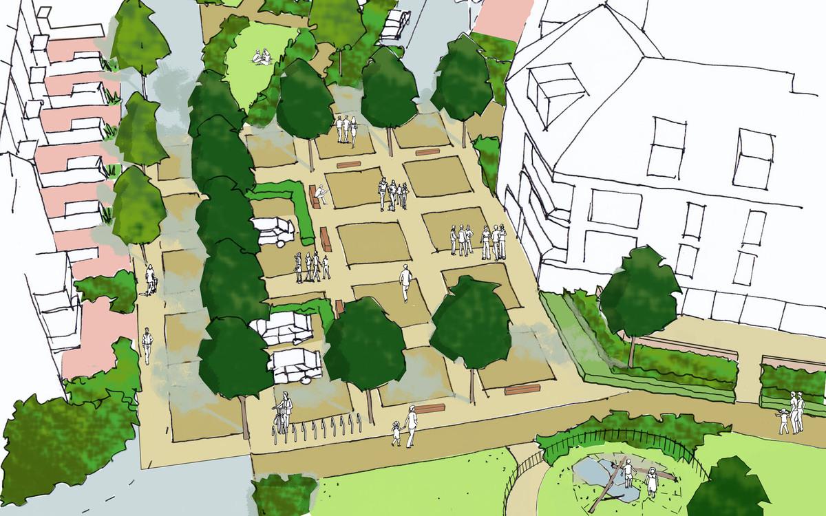 Oxford Stadium Residential Development Plaza Sketch