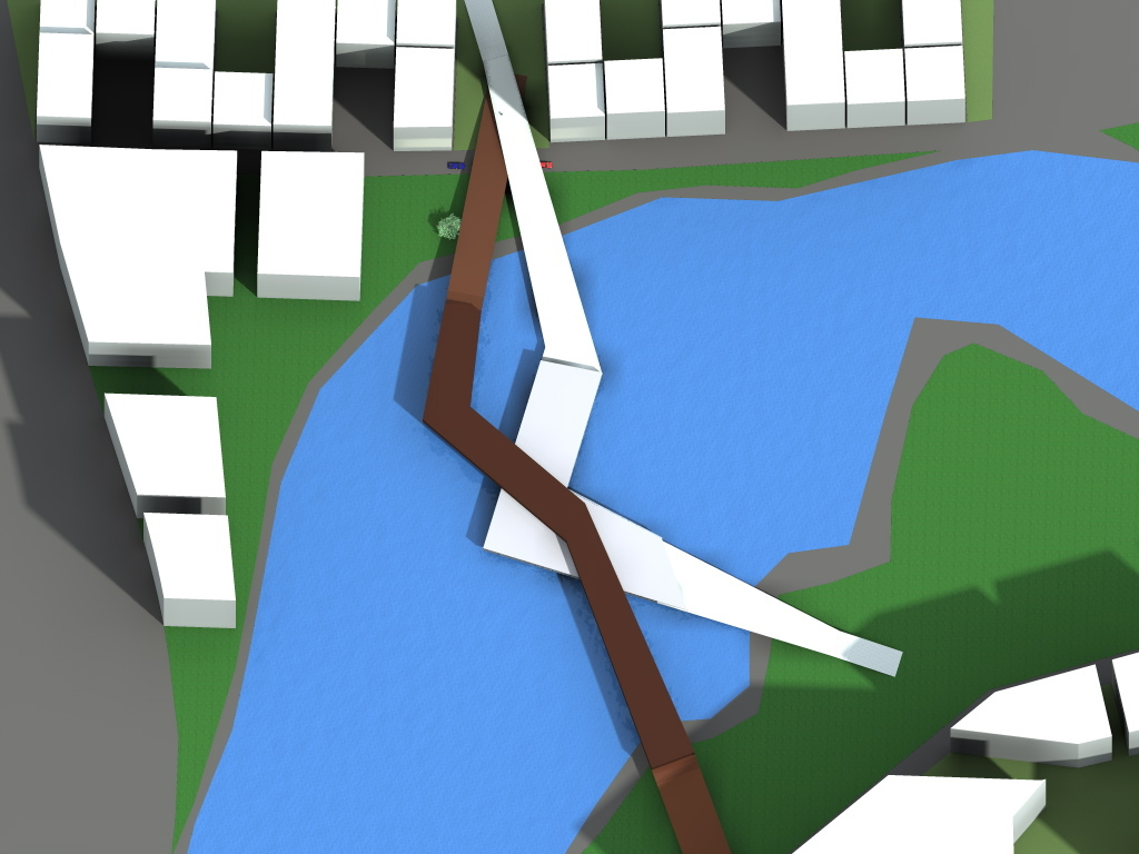 Wind energy production bridge by day