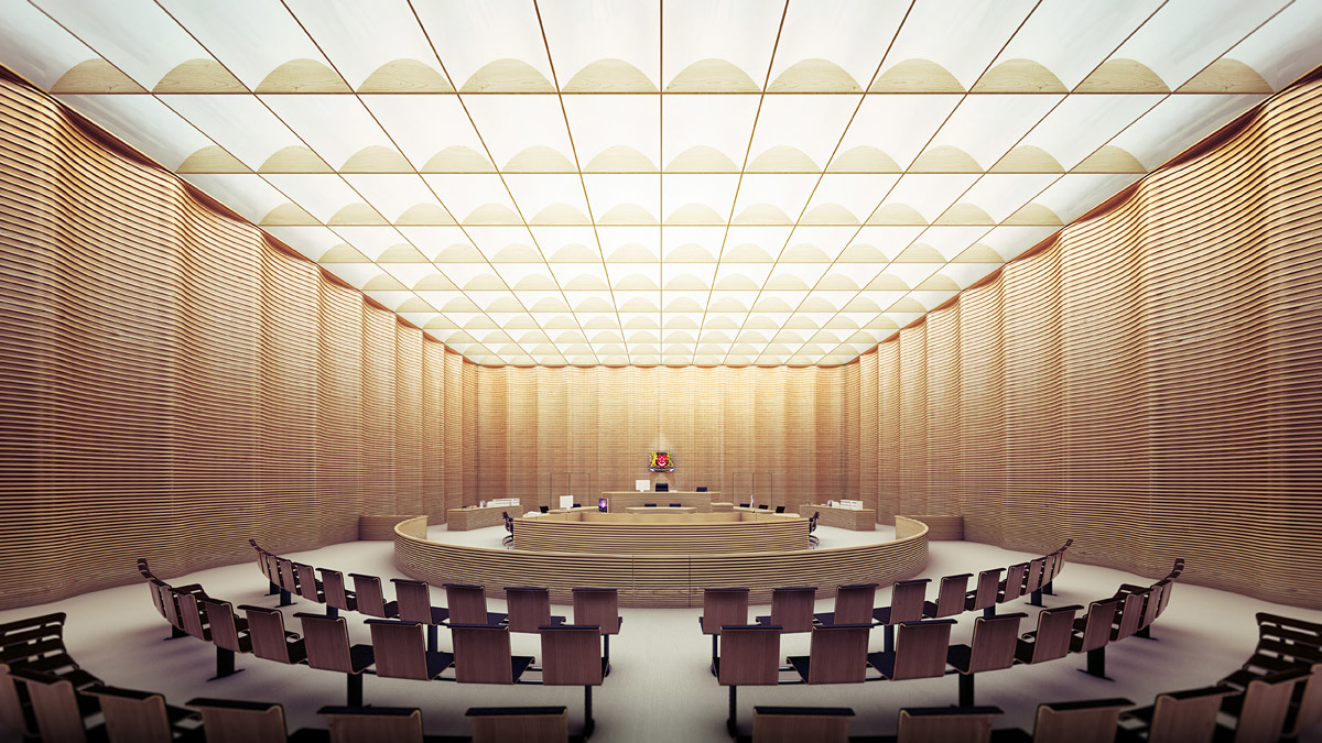 SSC, courtroom, interior view (Image: Serie Architects)
