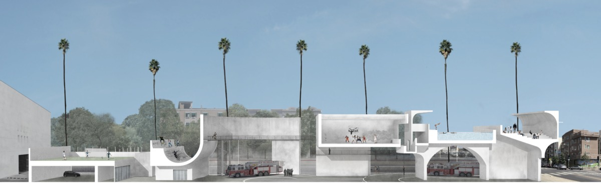 Work by 2nd-year students Eric Wall and Yeqi Wang for Fire Station studio taught by Karel Klein