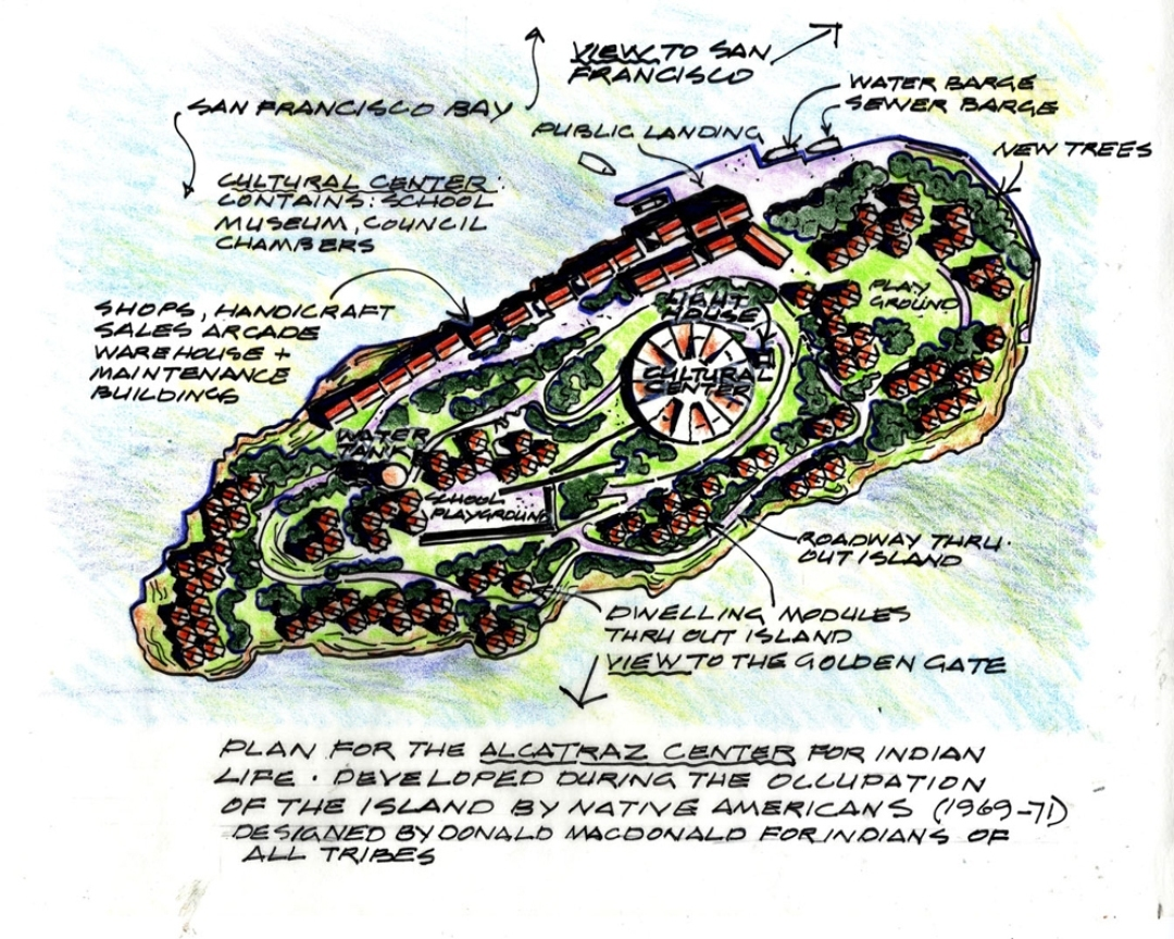 Donald MacDonald Architects' master plan to redevelop Alcatraz Island as a community for Native Americans (1970). Courtesy of Architizer.