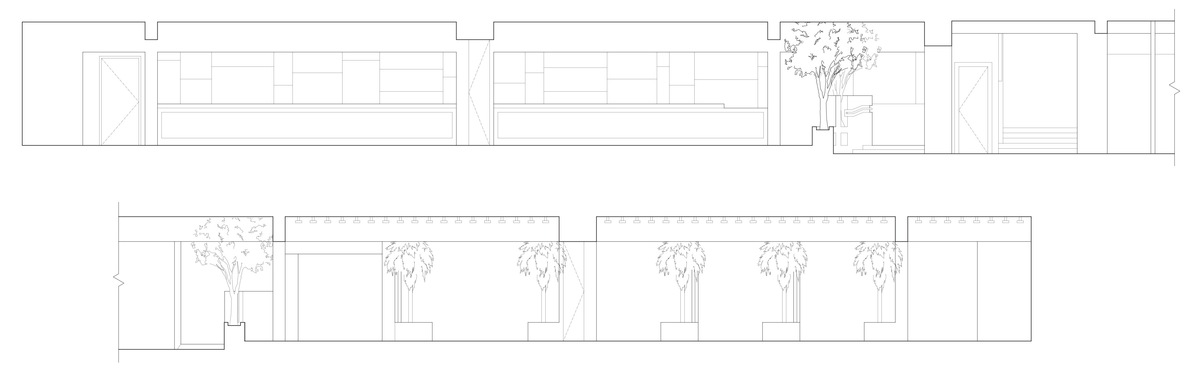 Elevation of bar and entrance above, and elevation of VIP sections below