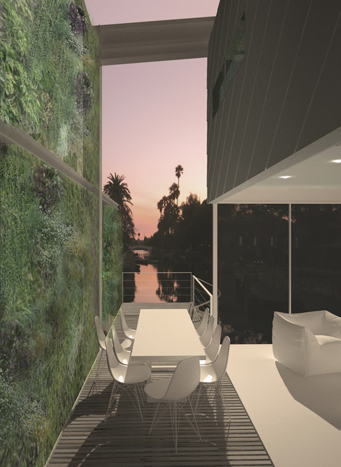 Breezeway / patio with open NanaWall system, facing canal at sunset