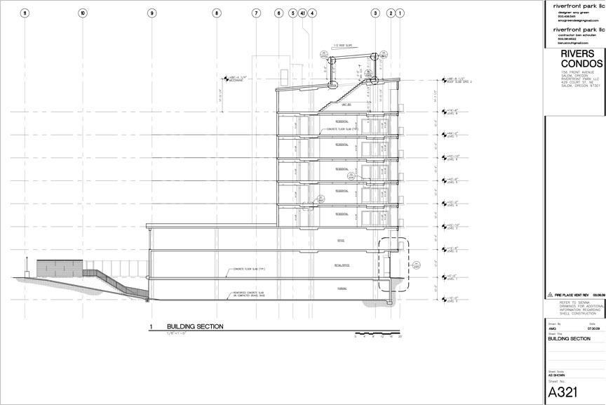 CAD section through condo building