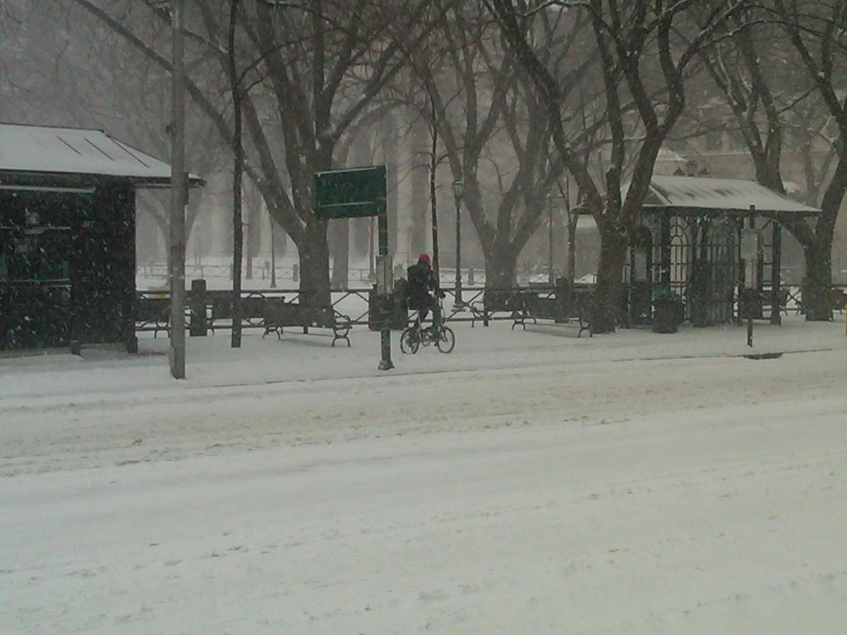 Matt battles the snow on his way to Wooster Square
