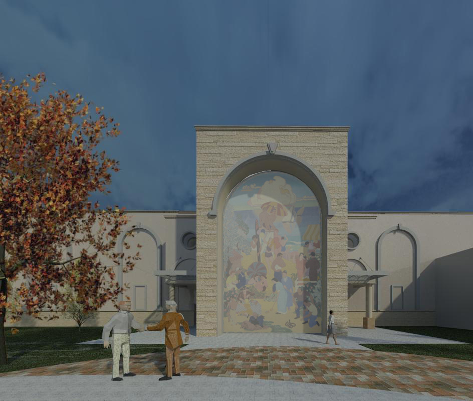 Incorporate existing historical mural into the design