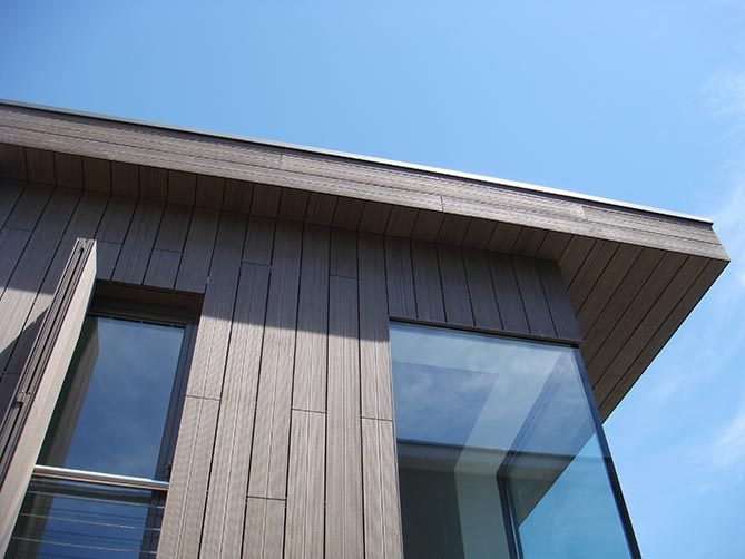 detail of the wooden facade