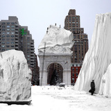 COLDSCAPES winner: Second Hinterlands by Noel Turgeon and Natalya Egon, Chicago, USA. Second Hinterlands envisions the reinvention of the snow removal process after significant winter storms. The project proposes a strategic lack of snow removal and snow relocation after winter weather events.