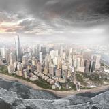 Aerial rendering of reconstituted 'shoreline' around lower Manhattan, The Mannahatta Project (Geofutures, 2015).