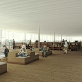 View of library collection area (4th floor) (Image: Kubota & Bachmann Architects+Martinez)