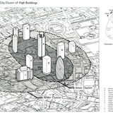 "Drawings like this one from an intermediate planning and design report suggested that the tower would enhance the skyline by completing the ""cluster"" of towers in the City's northeastern quadrant. Foster + Partners, Swiss Re House, Record Set of Presentation, 19th and 21st October..."
