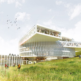 Rendering of the competition-winning design for Marknagil Education Center by BIG and Fuglark (Image courtesy of BIG)
