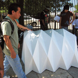 The Cardborigami team putting their innovation to the test at Skid Row in Los Angeles