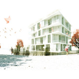 Acknowledgement Prize: Low-cost apartments incorporating smart materials, Hamburg, Germany by Barkow Leibinger Architects in collaboration with Schlaich Bergermann und Partner and TRANSSOLAR Energietechnik, Germany: View from street.