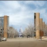 artist rendering, provided by the Eisenhower Commission on Oct. 6, 2011, shows an updated model showing the Maryland Avenue vista and promenade for the national memorial in Washington for President Dwight D. Eisenhower. via AP