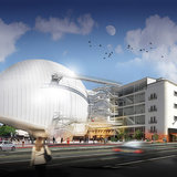A rendering of the planned film academy museum, as seen from Fairfax Avenue. (©Renzo Piano Building Workshop:Academy of Motion Picture Arts and Sciences : March 19, 2014)